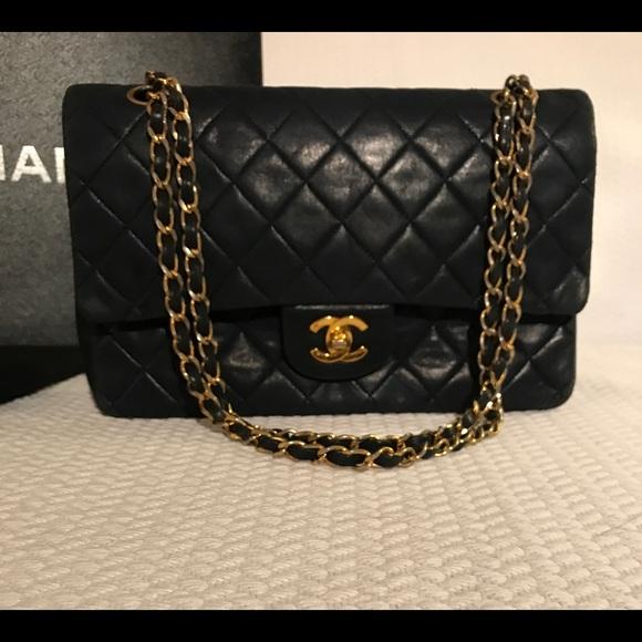 44c1b8df2d697c CHANEL Bags | Double Flap Navy Lambskin Bag | Poshmark